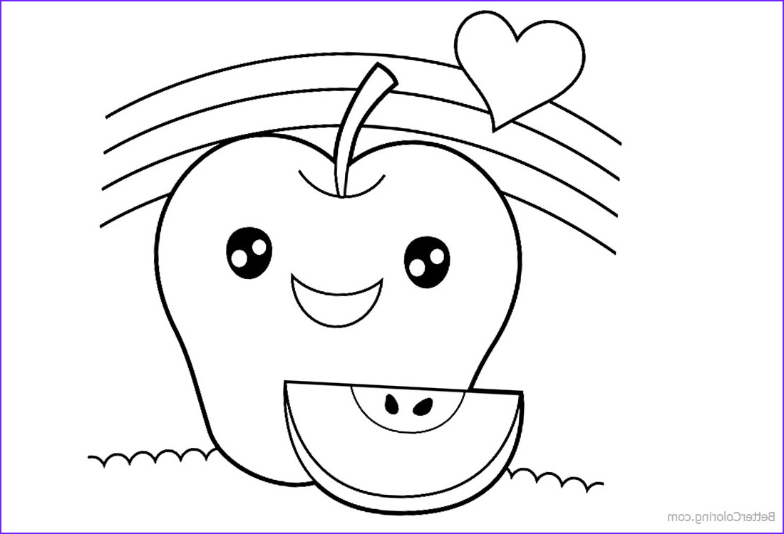 cute food coloring pages sweet apple with heart lineart