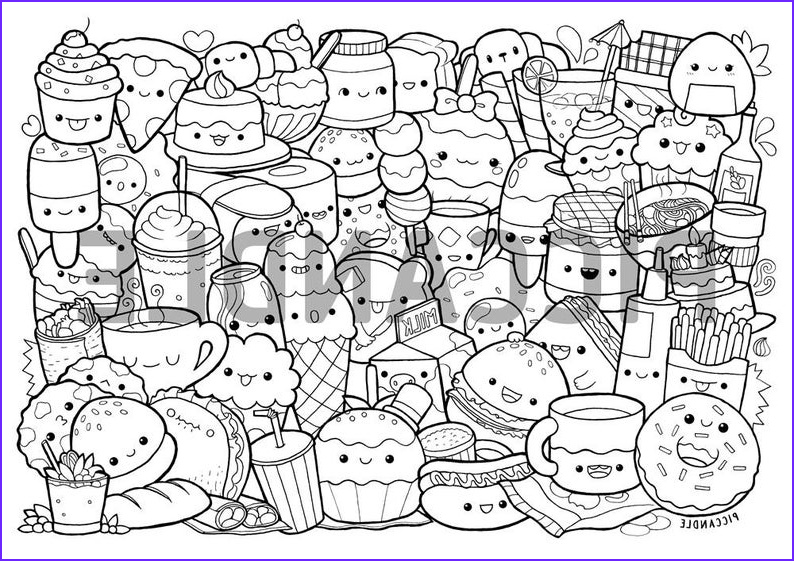 foods doodle coloring page printable