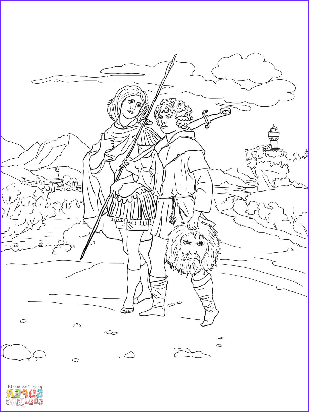 David and Jonathan Coloring Page Elegant Photos Jonathan and David with Head Of Goliath Coloring Page