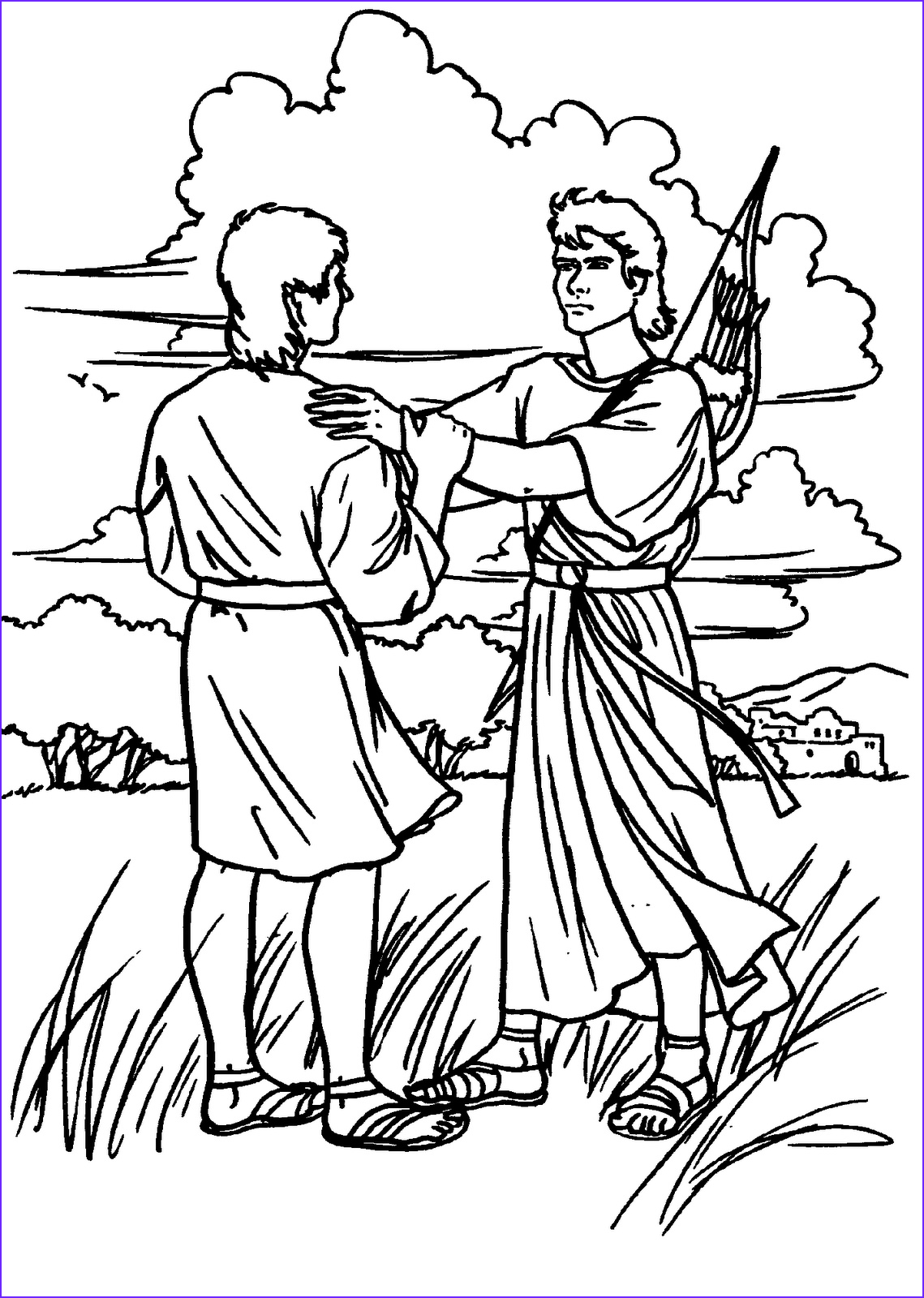 David and Jonathan Coloring Page Unique Images David Spares Saul Coloring Page Coloring Pages