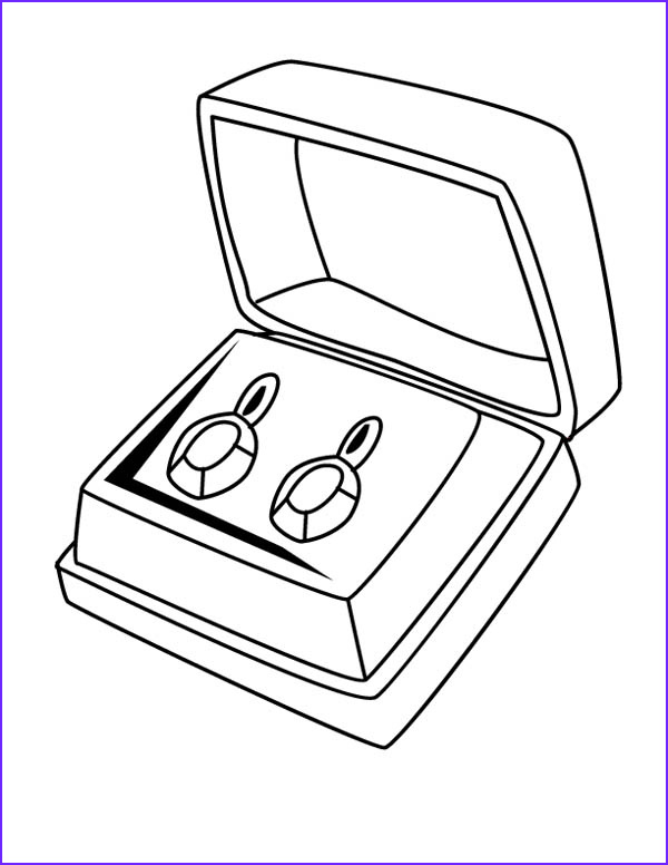pair of diamond earrings jewelry coloring page