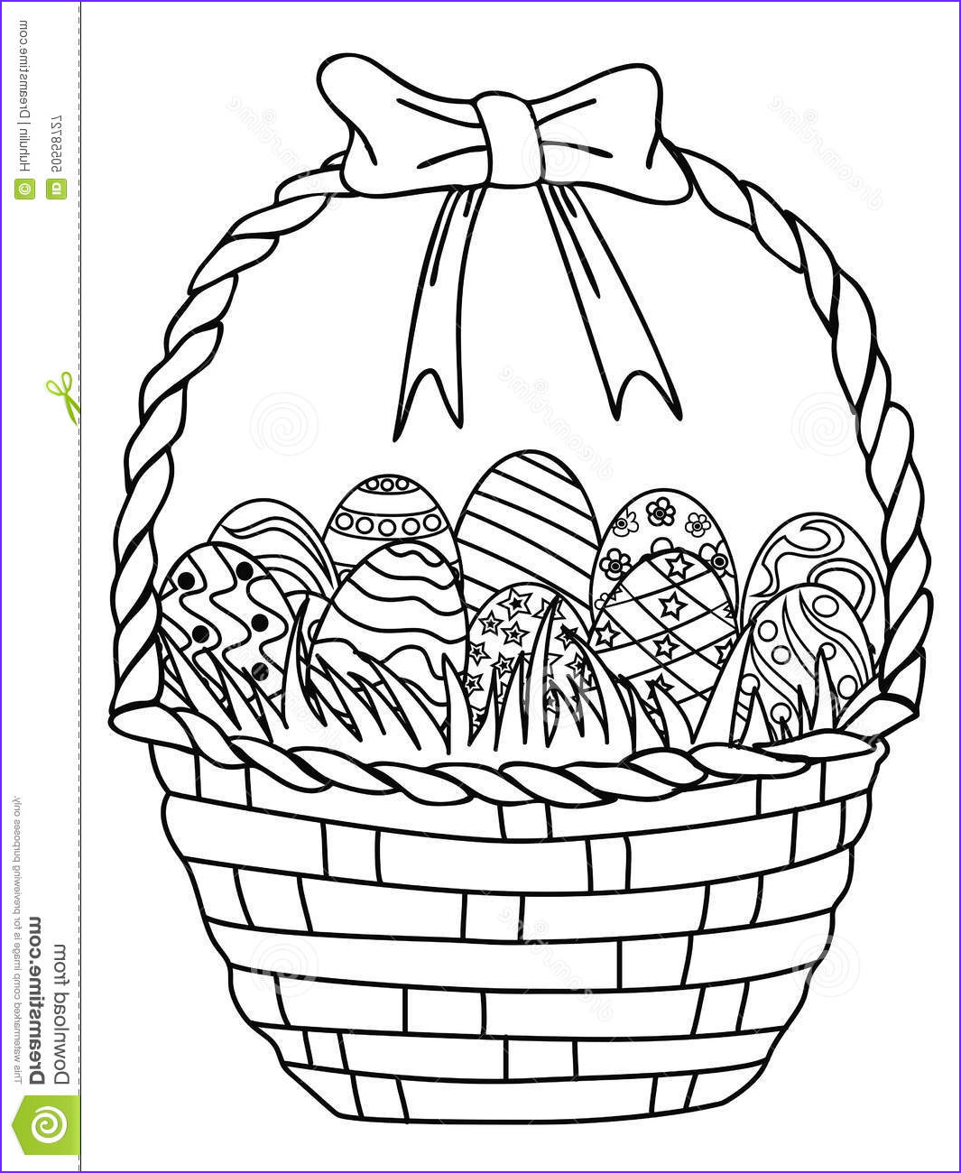 stock illustration basket easter eggs outline coloring page isolated hand drawn white background image