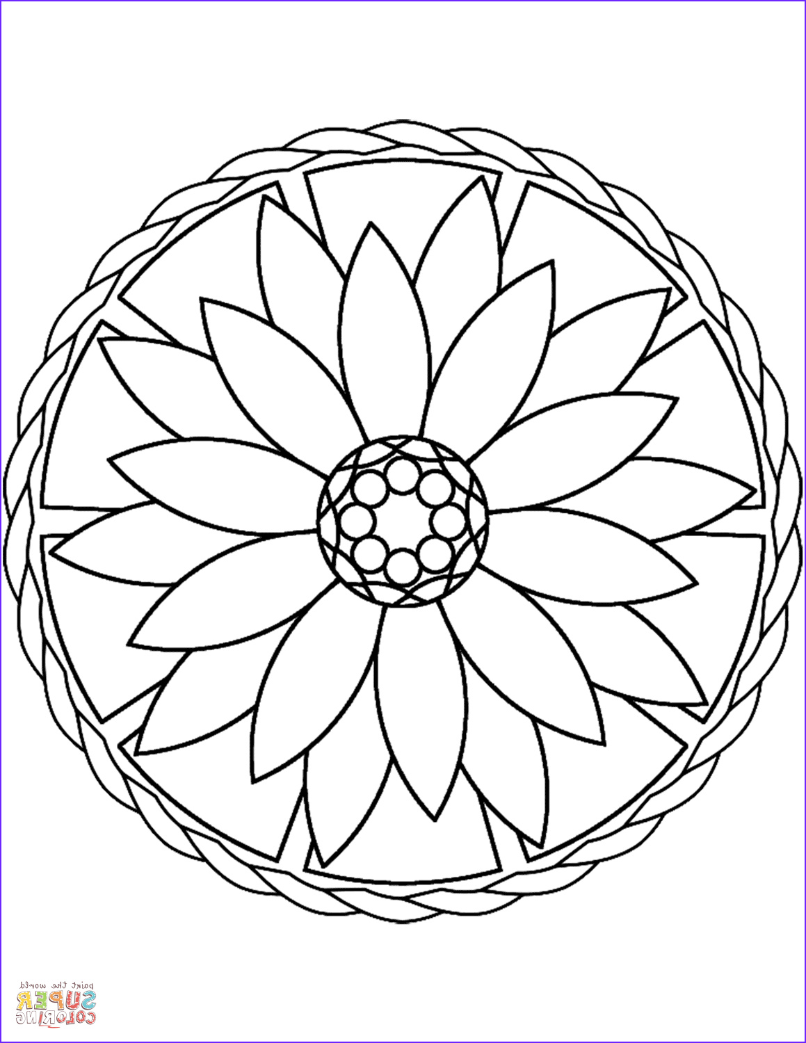 simple mandala with flower