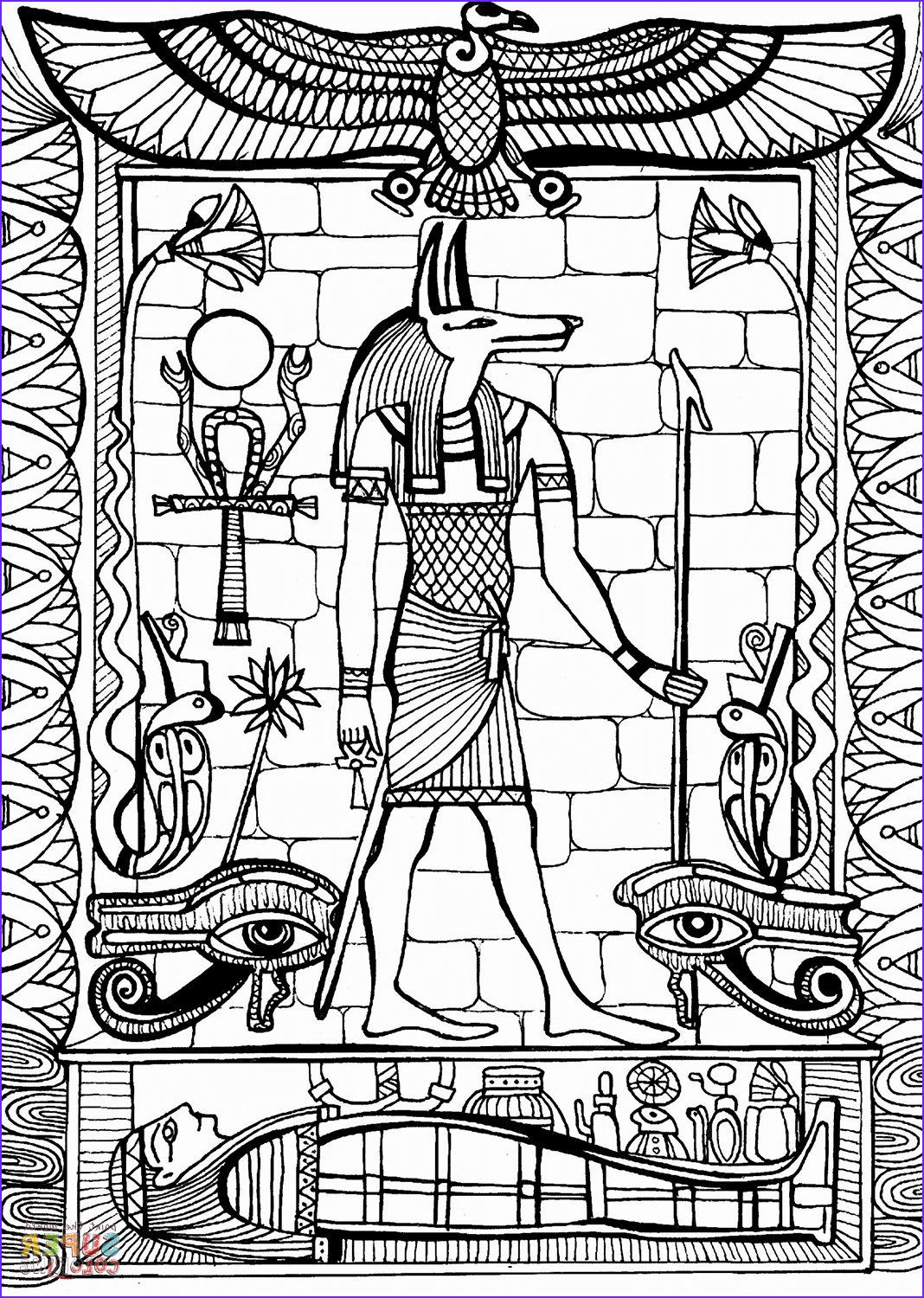Egyptian Gods Coloring Page Best Of Photos Anubis God Of Ancient Egypt Coloring Page