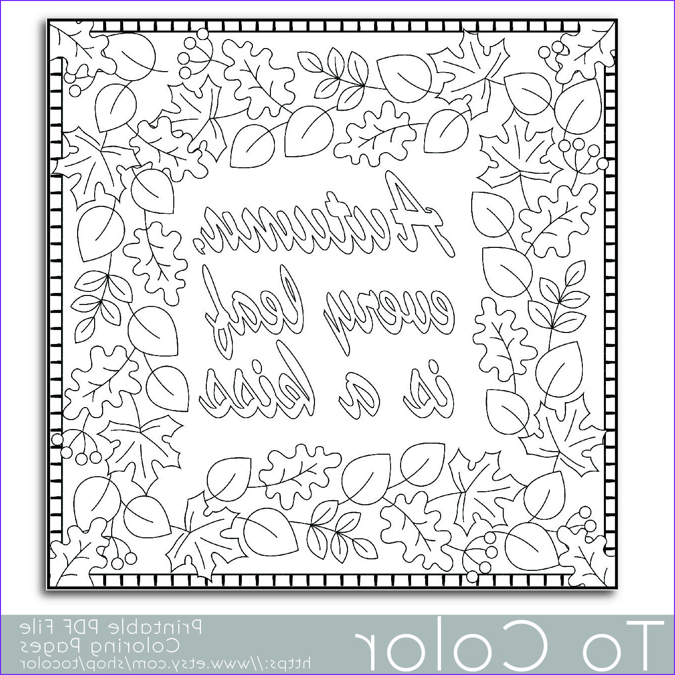 autumn leaves coloring page for adults