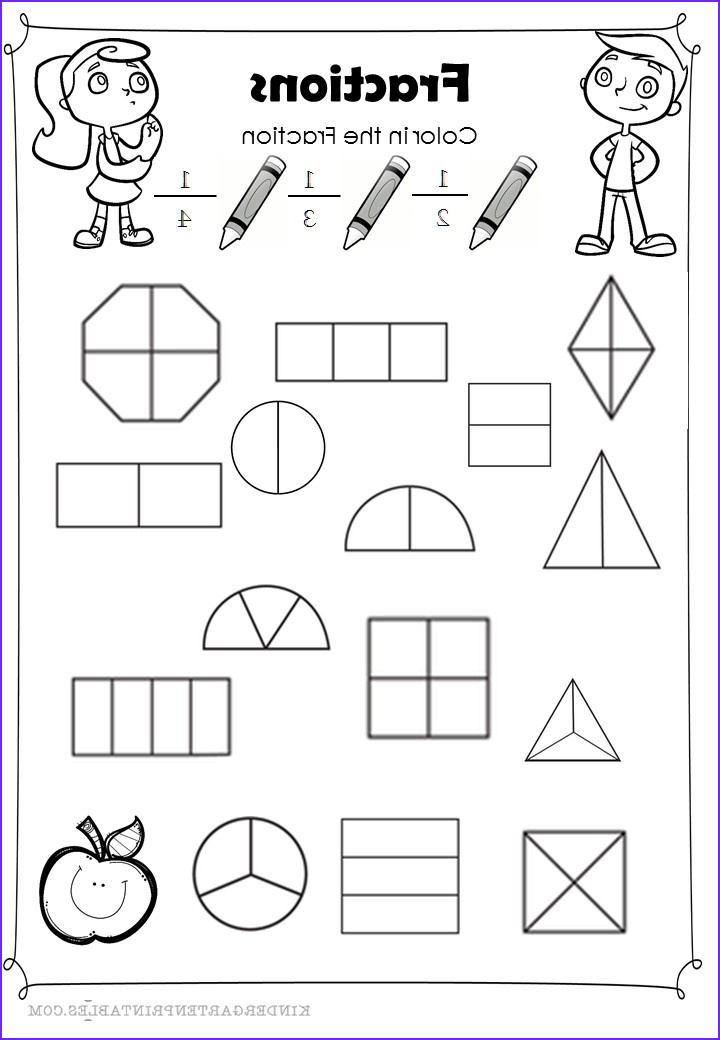 Fractions Coloring Sheet Beautiful Collection Color the Fractions
