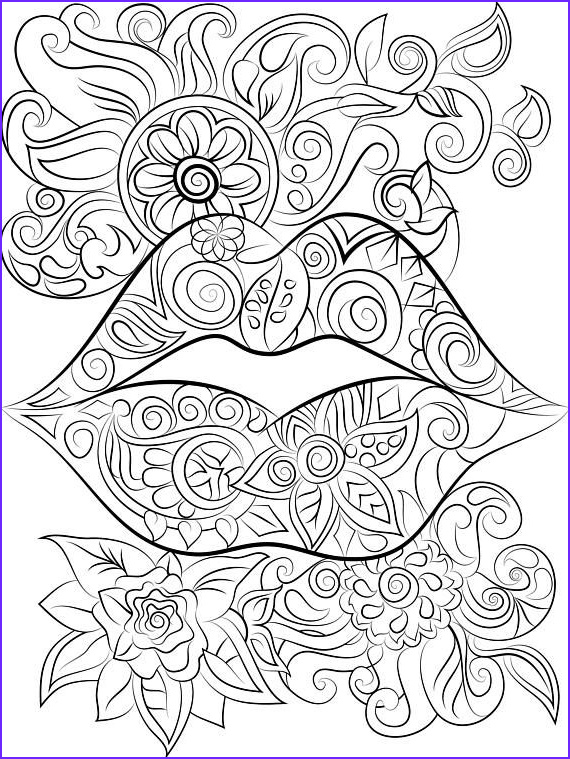 Fun Easy Coloring Page Beautiful Collection Lips And Flowers Colouring Page Instant Digital