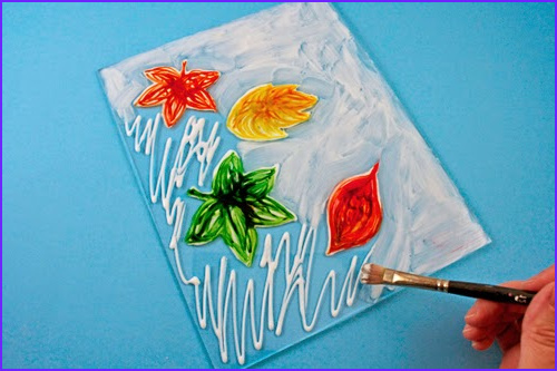 faux stained glass glue leaves