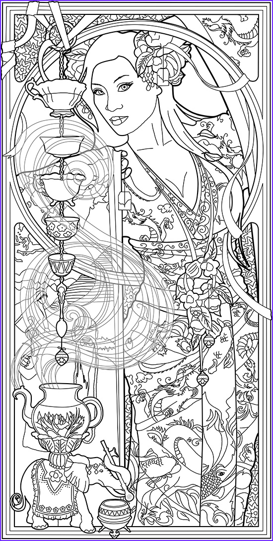 Goddesses Coloring Book Beautiful Images Color Your Own Tarot Deck & Art Nouveau Coloring Book by