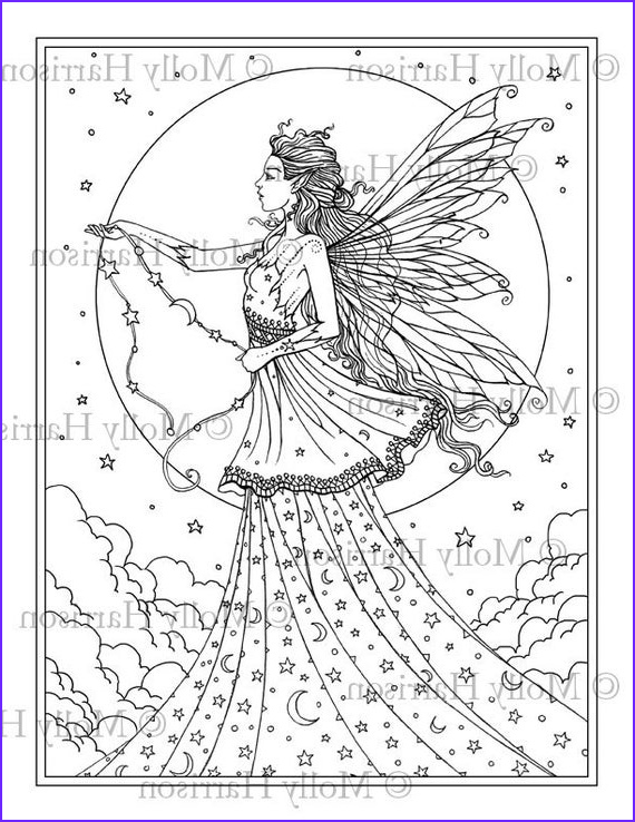 Goddesses Coloring Book Luxury Stock Celestial Goddess Coloring Page Printable Fantasy Fairy