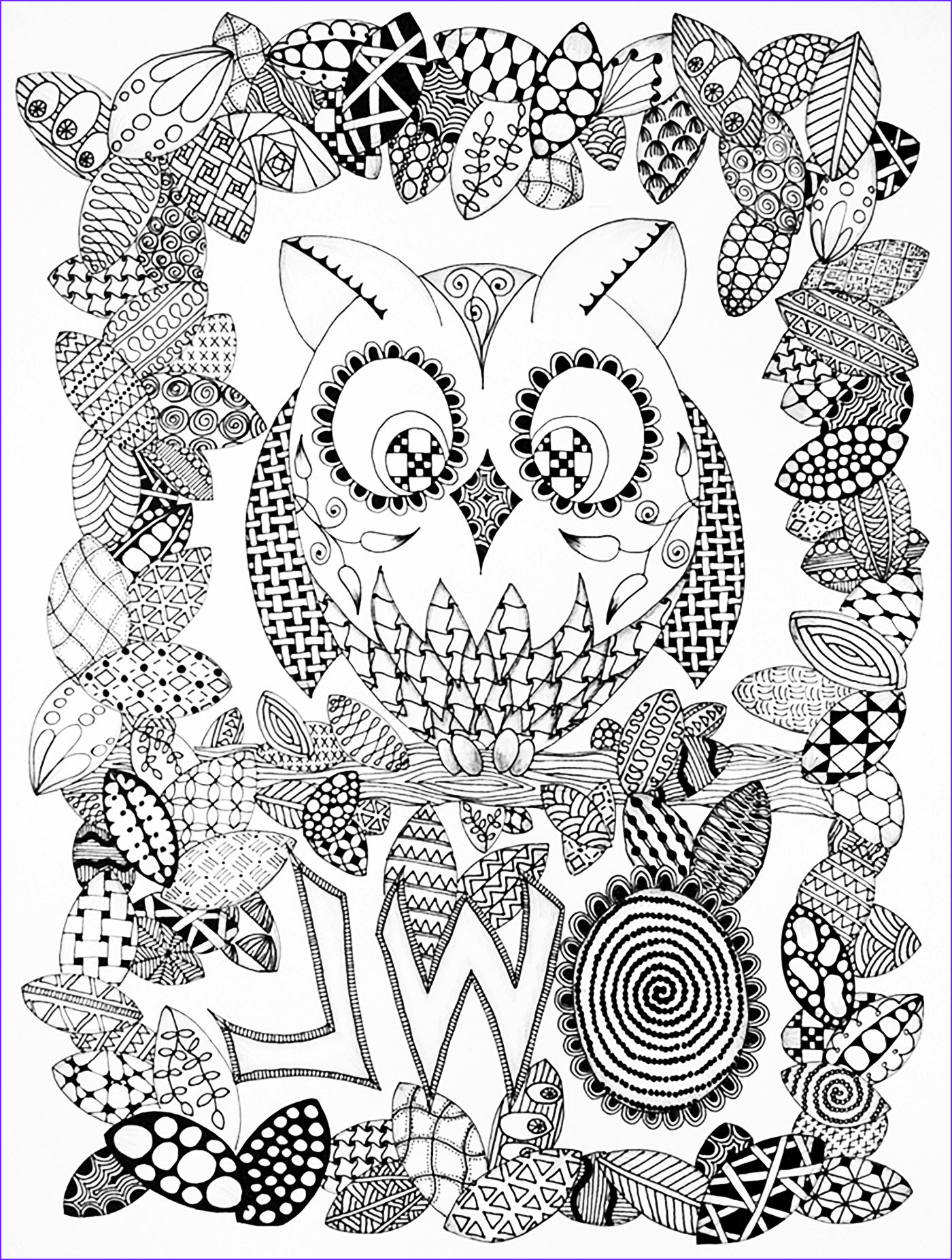 halloween adult coloring pages image=events halloween coloring adult halloween zentangle owl 1