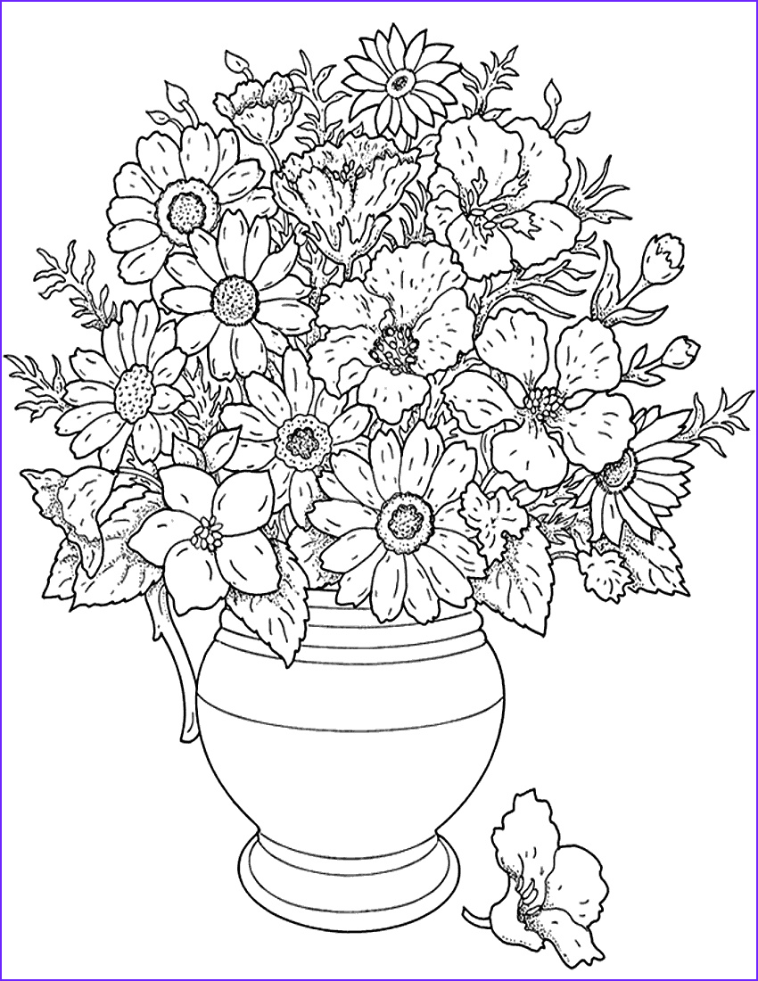Hard Coloring Page for Girl Elegant Collection Coloring Pages Of Flowers for Teenagers Difficult