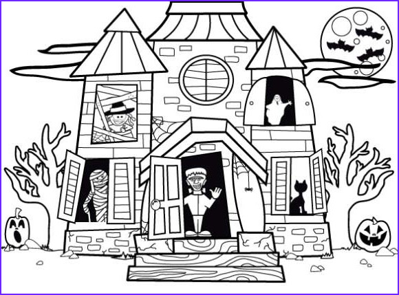 haunted house coloring pages halloween pictures