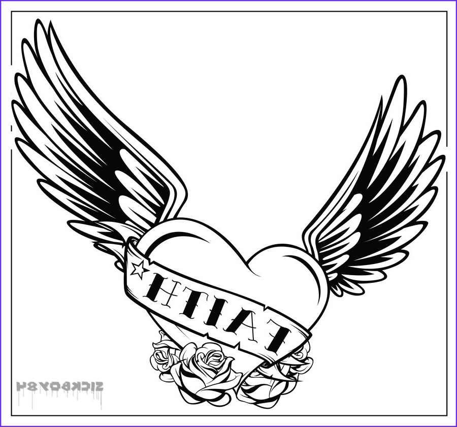 Heart With Wings Coloring Page Beautiful Photos Coloring Pages Hearts With Wings And Roses Cliparts