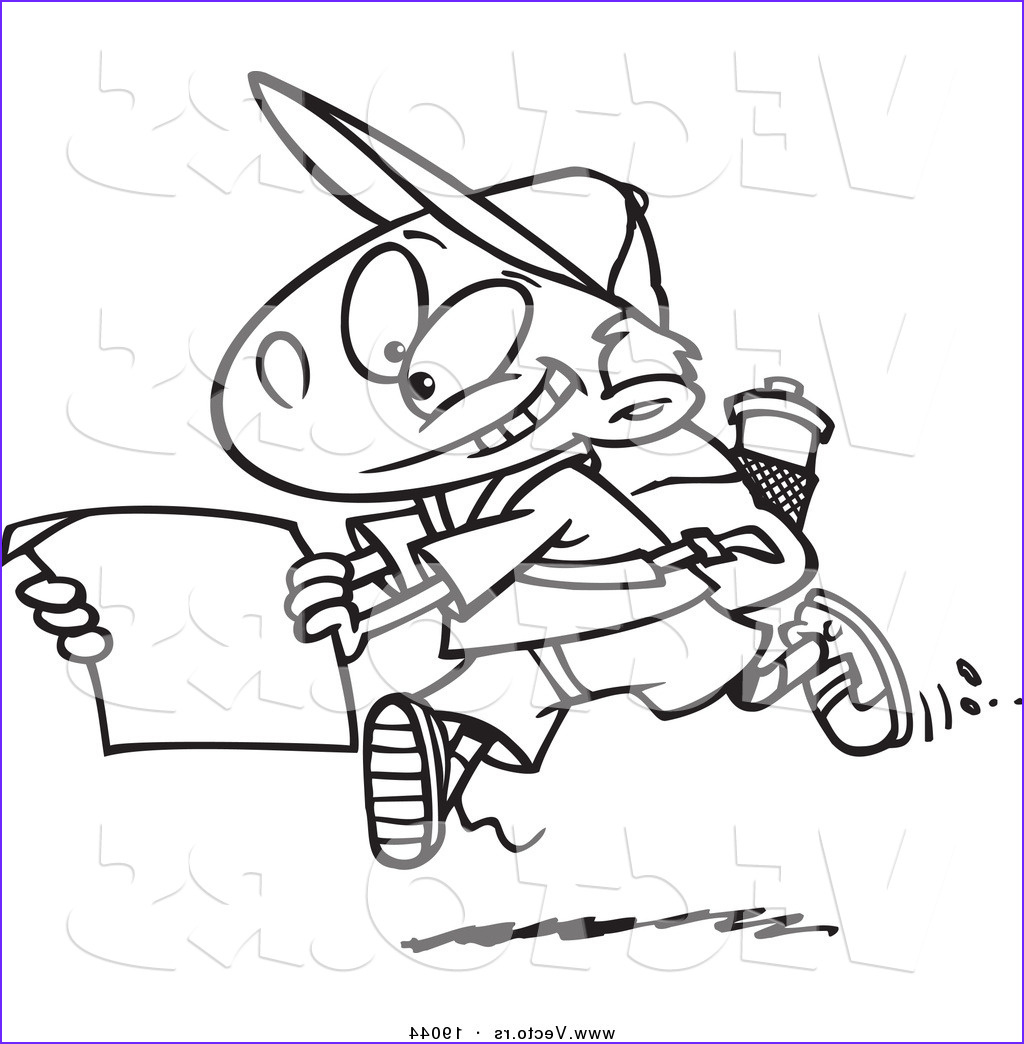 vector of a cartoon hiking boy using a map outlined coloring page by ron leishman
