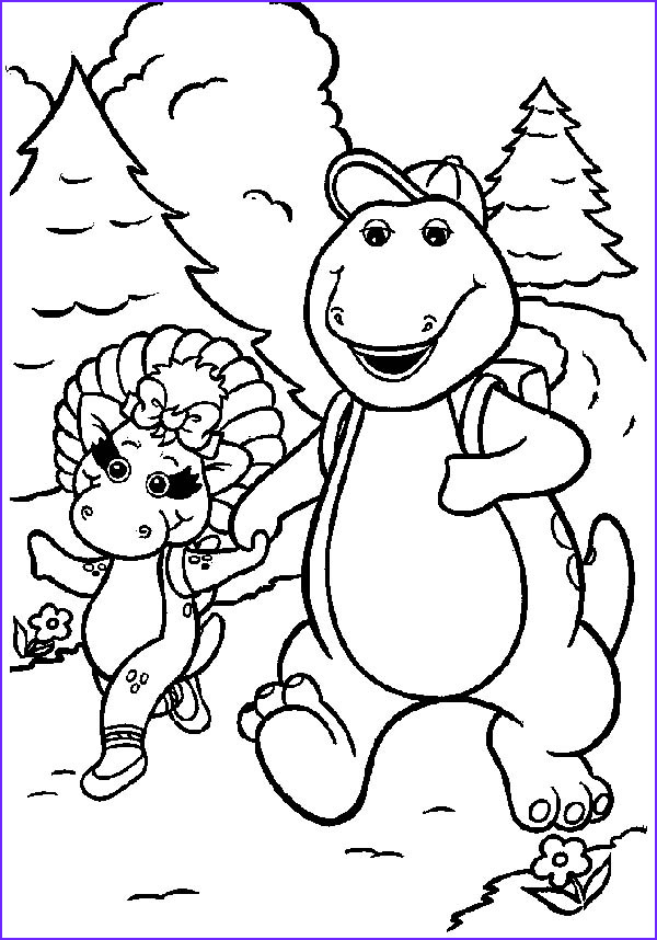 barney and baby bop going hiking coloring pages