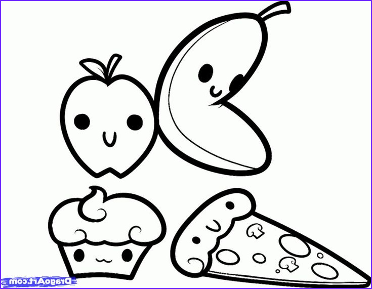 Kawaii Coloring Page Food Awesome Stock Coloring Kawaii Pages Foods Black and White