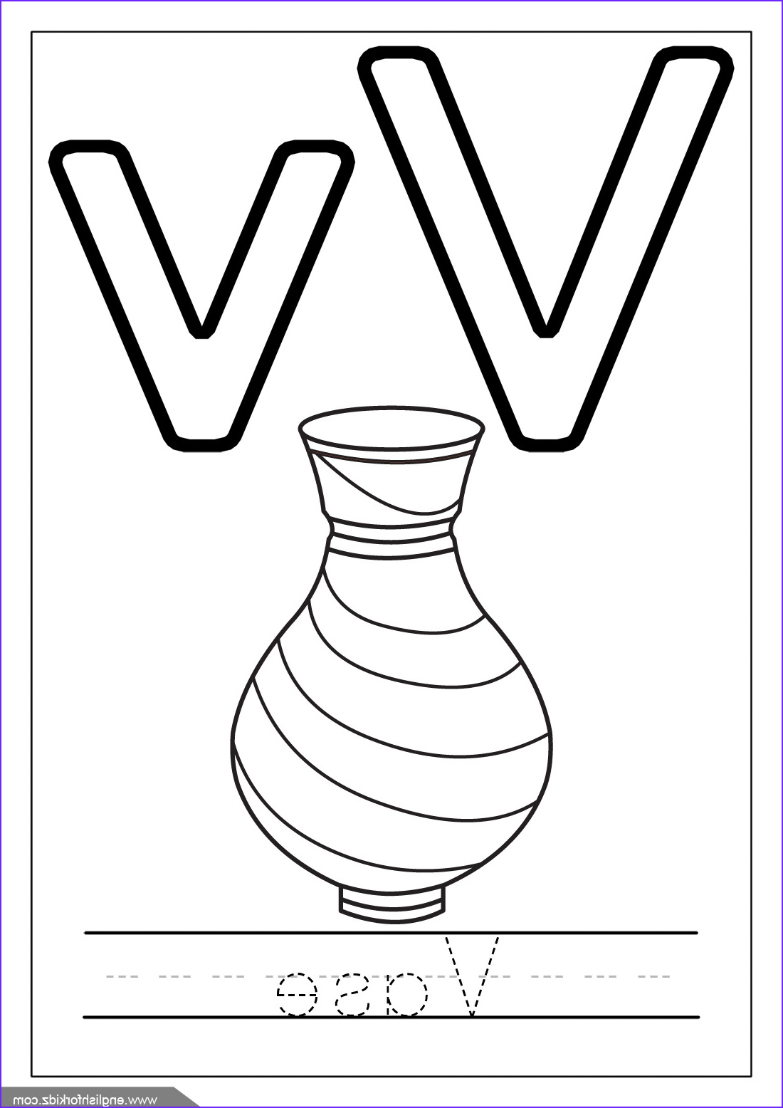v is for vase coloring page