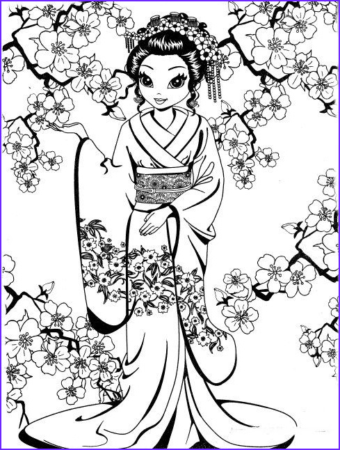 Lisa Frank Coloring Book for Adults Cool Images Pretty Geisha Coloring Page