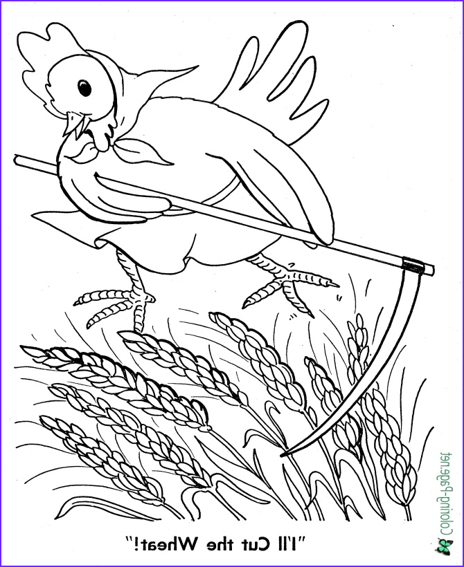 Little Red Hen Coloring Page Inspirational Gallery Fairy Tale Little Red Hen Coloring Page Cutting The Wheat