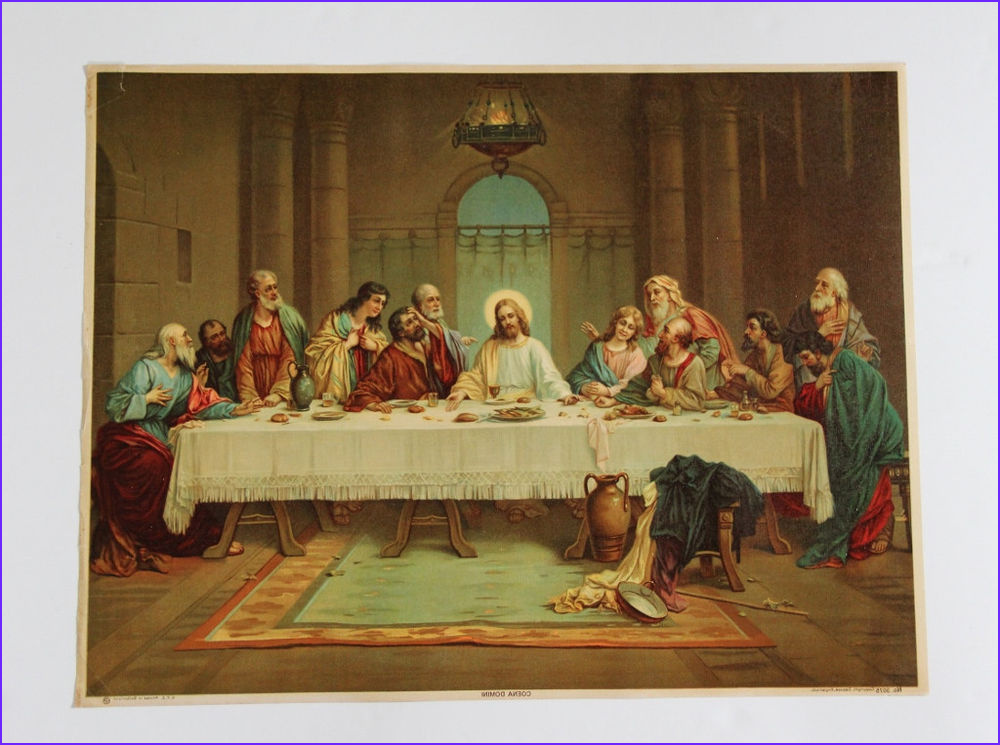 """Lord's Supper Coloring Page Inspirational Image 20 1 2"""" X 15 3 4"""" Vintage Olegraph Print Last Supper Coena"""