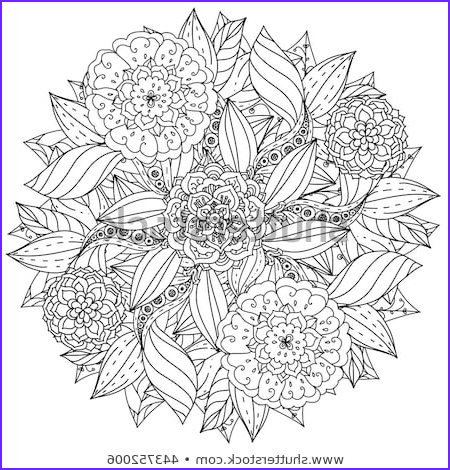 Mandala Coloring Therapy Best Of Image Circle Shape Orient Floral Black White Stock Vector