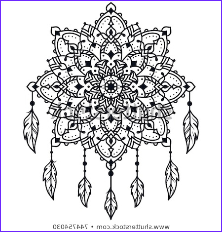 Mandala Coloring Therapy Luxury Collection Hand Drawn Native American Indian Talisman Stock Vector