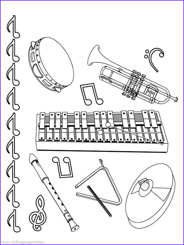 Musical Instrument Coloring Page New Images Musical Instruments Coloring Pages 11 Jazz