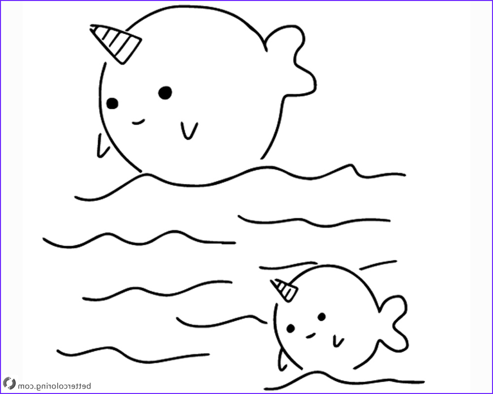 Narwhal Coloring Sheet Awesome Photos Two Cute Narwhals Coloring Pages Free Printable Coloring