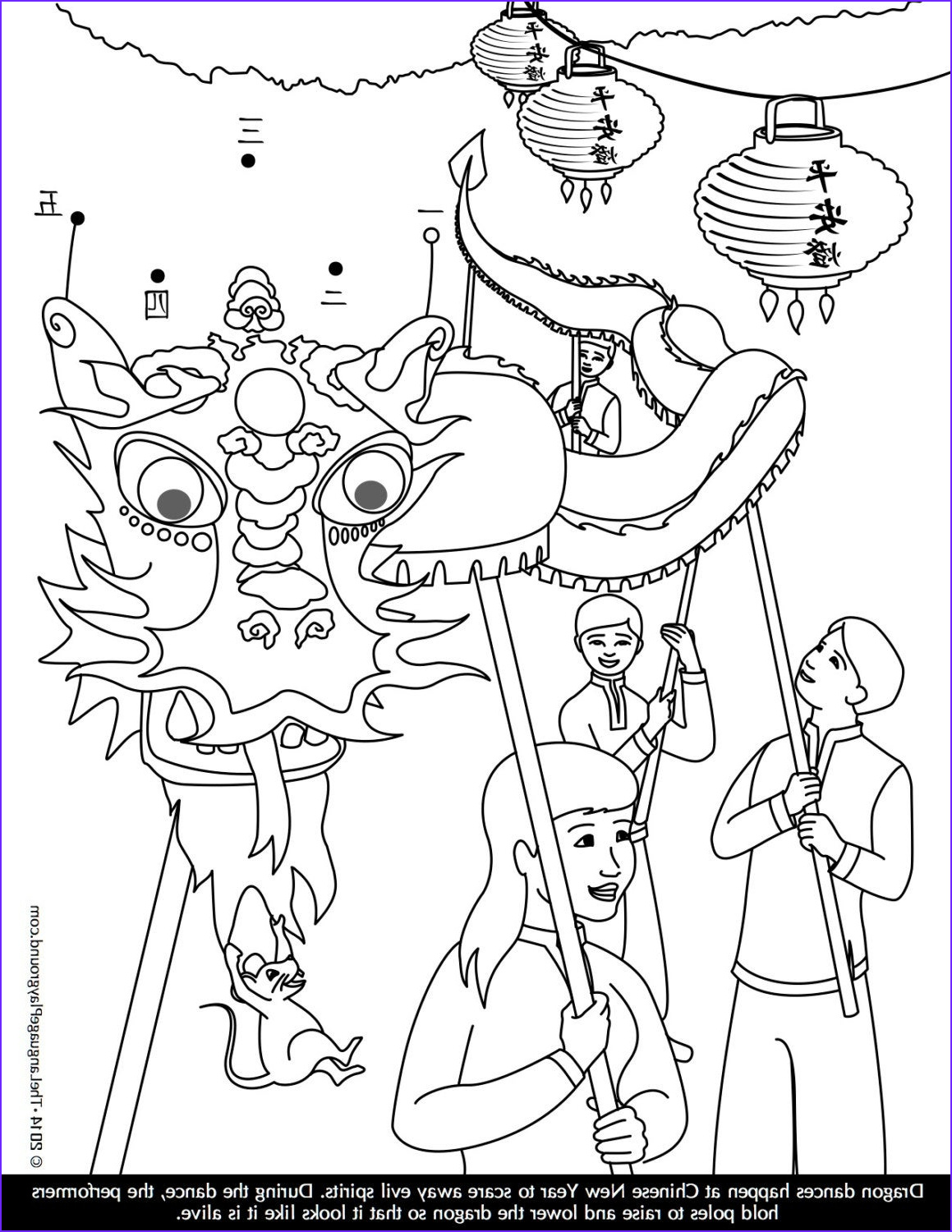 chinese new year coloring and dot to dot