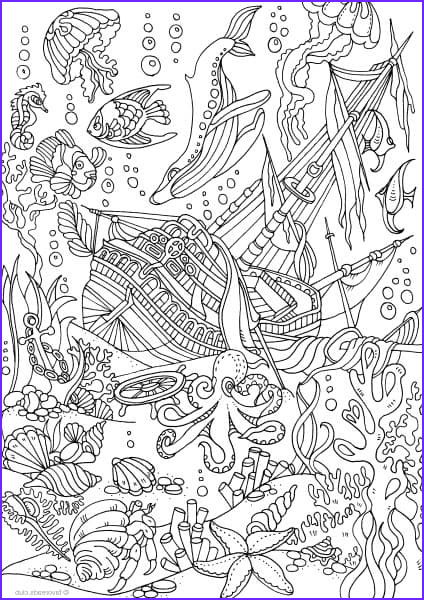 Pirate Coloring Page for Adults Best Of Collection Ocean Life Sunken Ship Favoreads original Adult