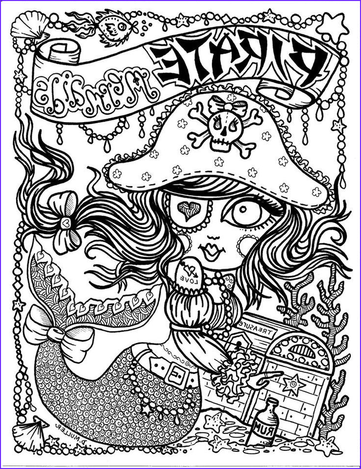 Pirate Coloring Page for Adults Unique Gallery Pirate Mermaid Myth Mythical Mystical Legend Mermaids
