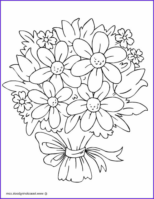 Pretty Flowers Coloring Page Beautiful Photography Bouquet Of Flowers Coloring Page