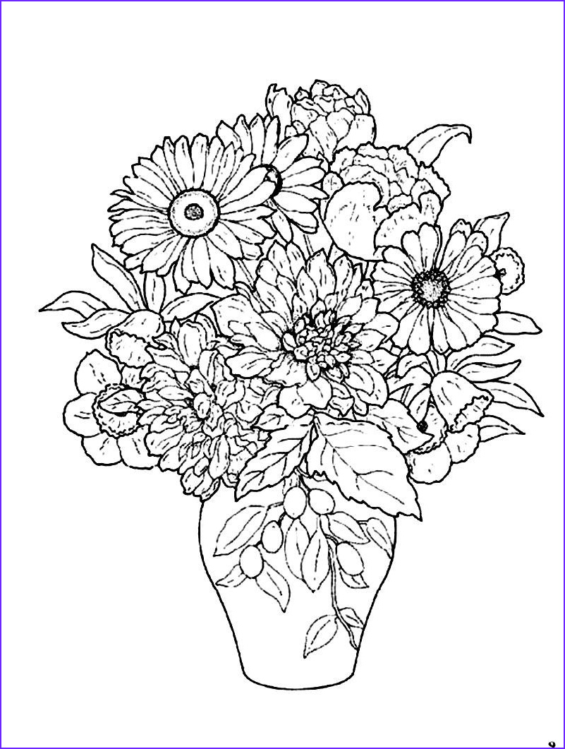 Pretty Flowers Coloring Page Beautiful Photos Beautiful Flower Vase Coloring Pages