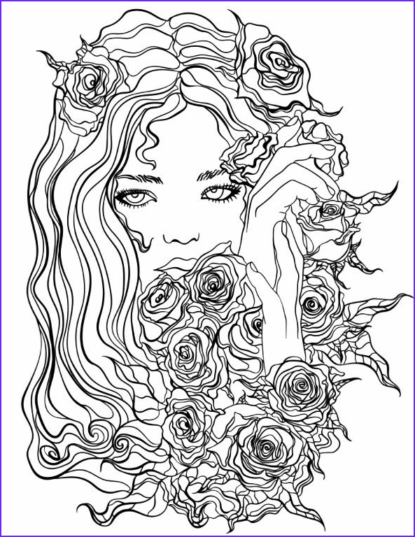 Pretty Flowers Coloring Page Best Of Gallery Pretty Girl with Flowers Coloring Page