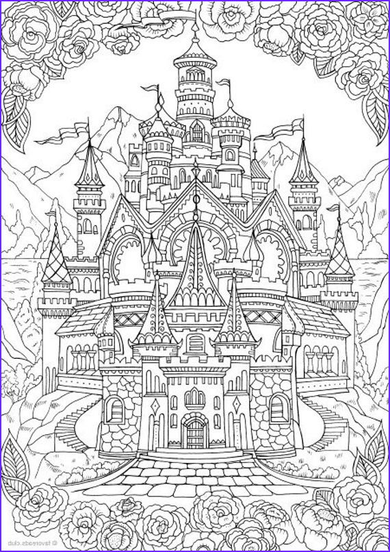 Printable Castle Coloring Page Awesome Images Castle Printable Adult Coloring Page From Favoreads