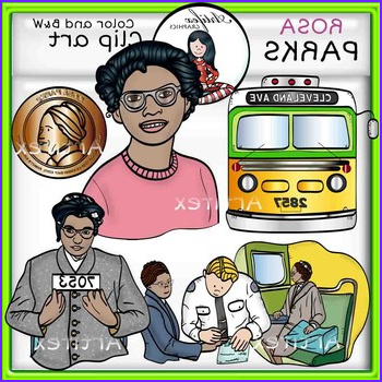 Rosa Parks clip art Color and BW 25 items
