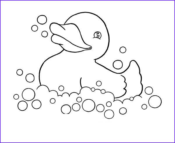 rubber ducky playing with bubbles coloring page