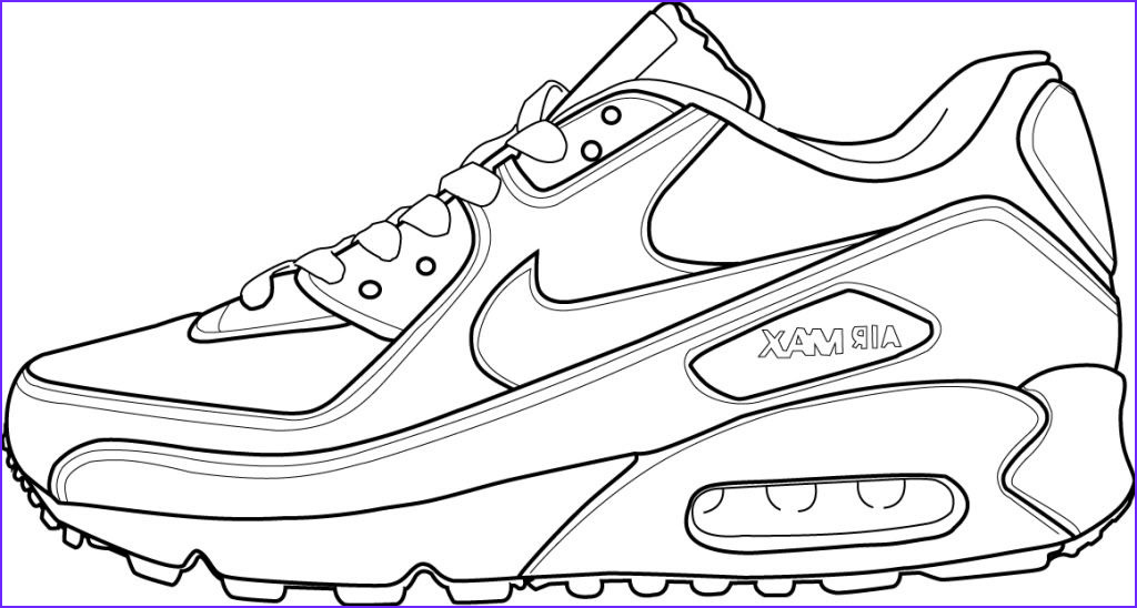 Running Shoe Coloring Page Cool Gallery Air Max 90 Art Shoe Project In 2019