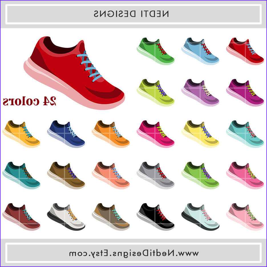 running shoes clipart rainbow color