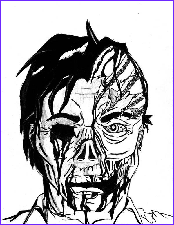 scary two faces coloring page