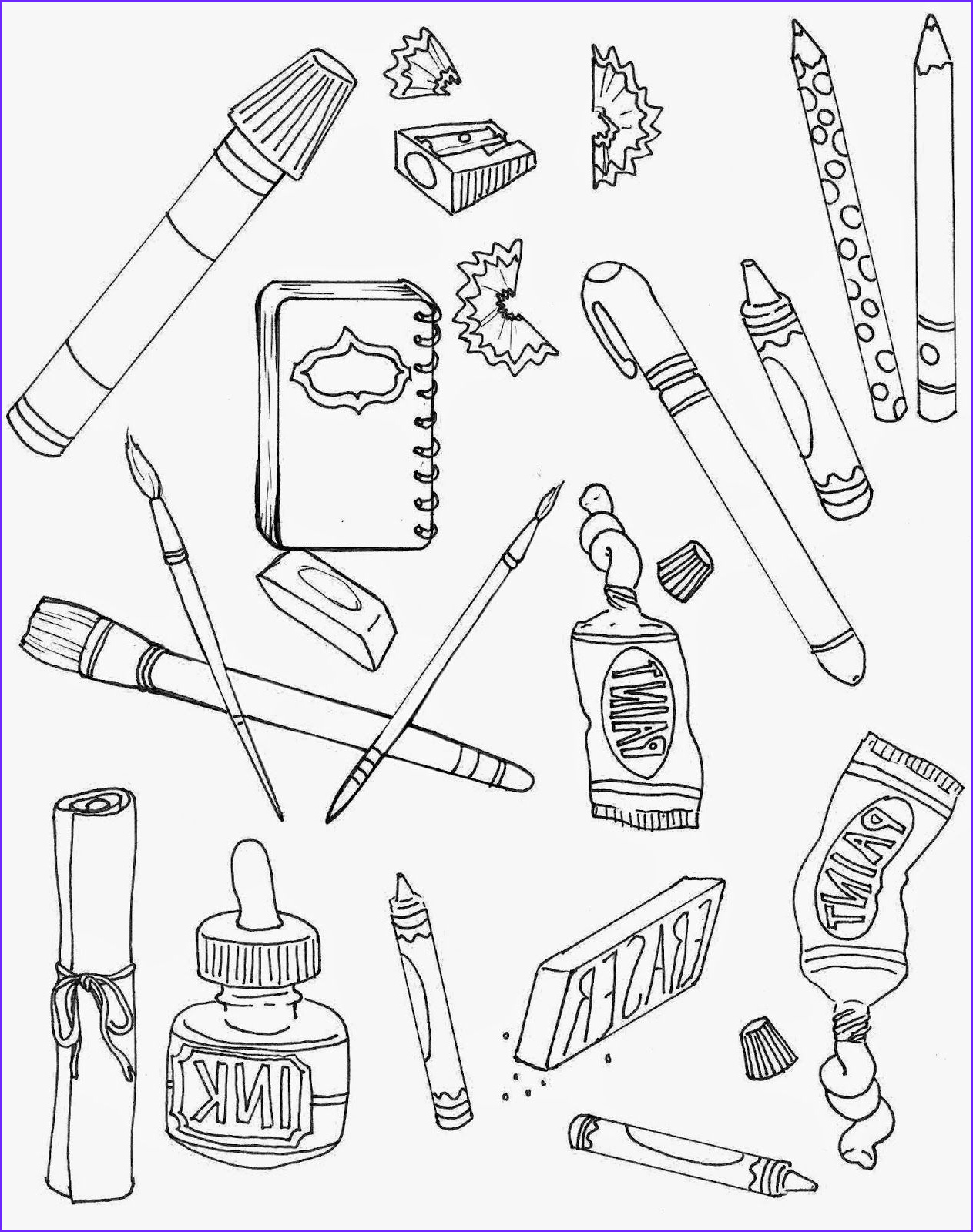 School Supplies Coloring Page Beautiful Photography Art Supplies Coloring Pages