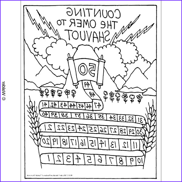 Shavuot Coloring Page Cool Images Count Up Sefirah until Shavuot Chart with Lightning