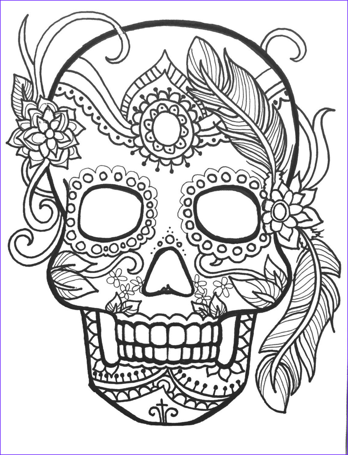 Skull Adult Coloring Page Best Of Collection 10 Sugar Skull Day Of The Dead Coloringpages Original Art