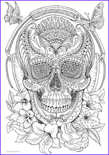 Skull Adult Coloring Page Cool Photos Music Skull
