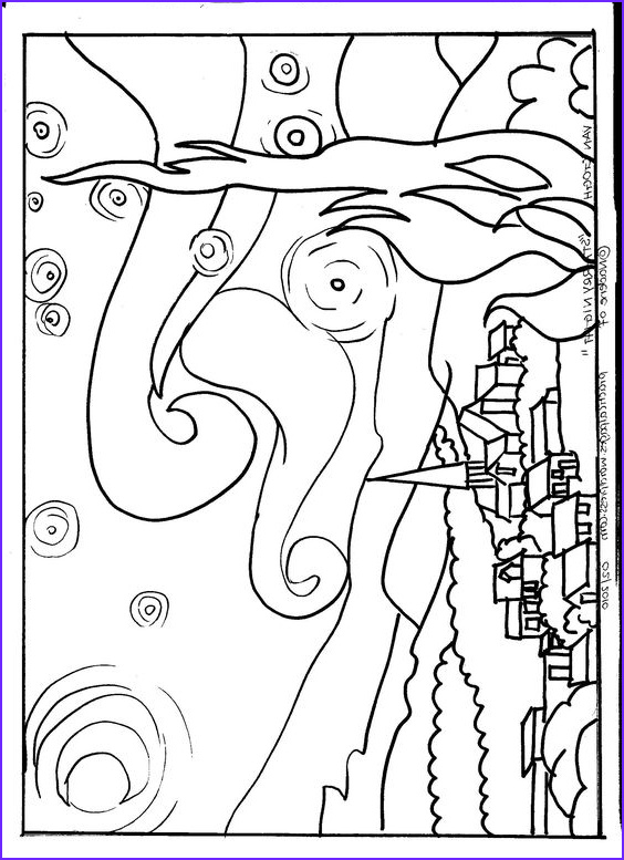 """Starry Night Coloring Page Beautiful Image Van Gogh """"starry Night"""" Art Appreciation"""