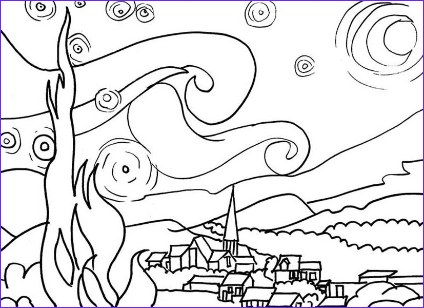 Starry Night Coloring Page Beautiful Photos Starry Night Coloring Page at Getdrawings