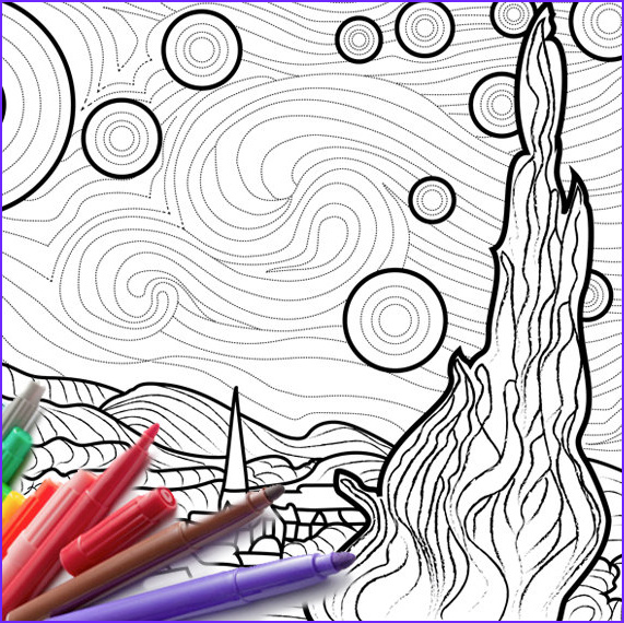 Starry Night Coloring Page Cool Images Starry Starry Night Coloring Page Vincent Van Gogh