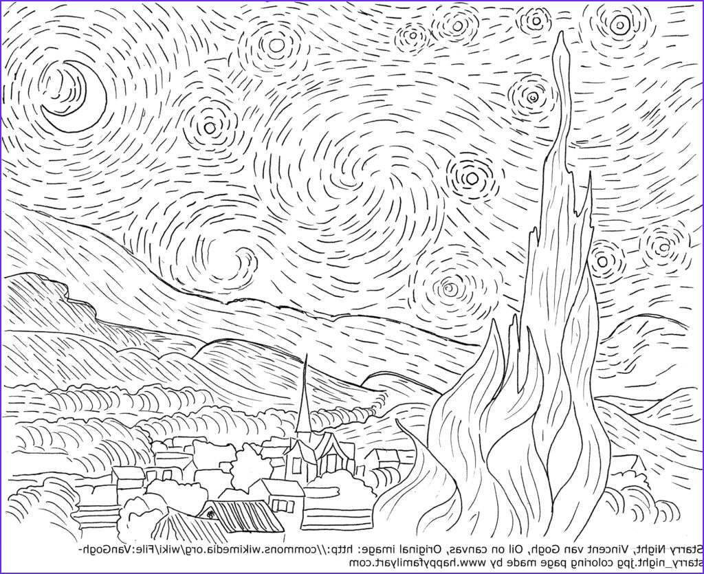 Starry Night Coloring Page Cool Images Vangoghstarrynightmedium