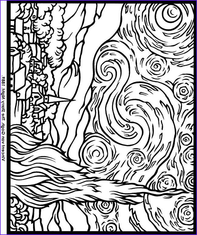 Starry Night Coloring Page Luxury Stock to See Printable Version Of Starry Night by Vincent